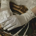 Satin Pearls Embellished Short Gloves