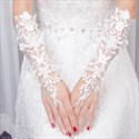 Lace Embellished Long Gloves With Beading