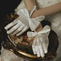 Satin Short Gloves With Bowknot
