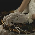 Lace Short Gloves With Bowknot Embellished