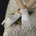 Ivory Short Satin Gloves With Pearls
