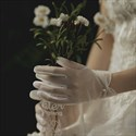 Ivory Short Tulle Gloves With Pearls