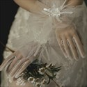 Short Tulle Gloves With 3D Flower Embellished
