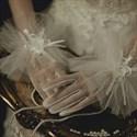 Short Tulle Gloves With 3D Flower Embellished