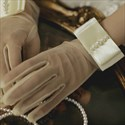 Short Tulle Pearls Gloves With Bow Embellished