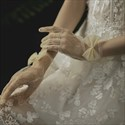 Champagne Short Tulle Gloves With Bowknot