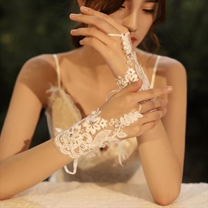 Lace beaded hook Gloves