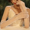 Tulle Long Gloves With Pearls Embellished
