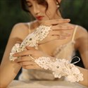 Lace Beaded Flowers Hook Gloves With Bow