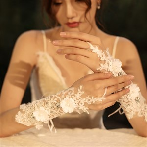 Lace Beaded Hook Gloves With Flowers Embellished