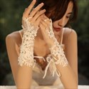 Lace Hook Gloves With Beading