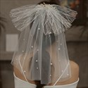 Short Pearls Embellished Tulle Veil With Bowknot