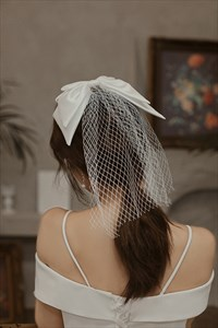 Short Tulle Veil With Bowknot