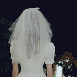 Four Layer Short Tulle Veil With Bowknot