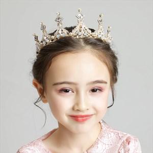Girl's Tiara Princess Birthday Crystal Crown With Pearls