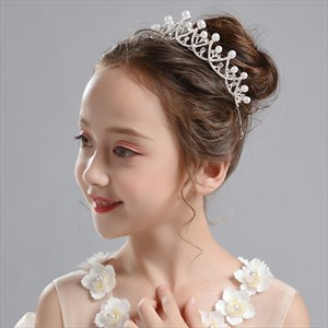 Girl's Handmade Tiara Birthday Crystal Crown With Pearls