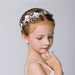 Girl's Floral Headpieces Princess Crystal Pearls Headband