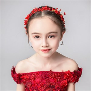 Girl's Red Wreath Flower Headbands With Pearls