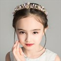 Girls Floral Headpieces Gold Princess Tiara With Pink Accents