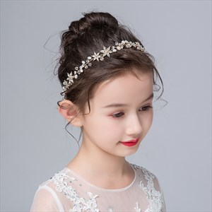 Girls Floral Princess Headbands With Rhinestones