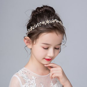 Girls Floral Princess Headbands With Rhinestones