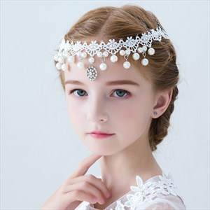 Girls Lace Embellished Princess Headbands With Pearls
