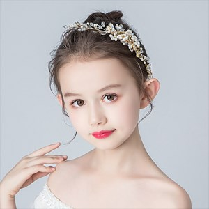 Girls Hair Comb Crystal Handmade Headpieces With Pearls