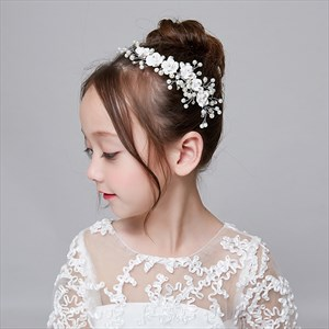 Girls Alloy Floral Handmade Headpieces With Pearls