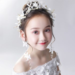 Girls Pearls Princess Headpieces With Butterfly Embellished