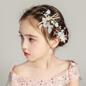 Girls Floral Princess Headpieces With Pearls