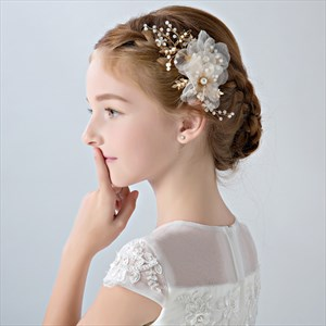 Girls Alloy Floral Headpieces With Pearls