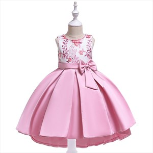 Girls Leaf Embroidery Birthday Princess Dress With Pearls