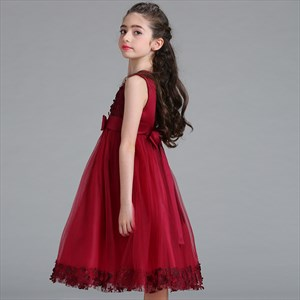 Girls Floral Embellished Tulle Birthday Princess Party Dress