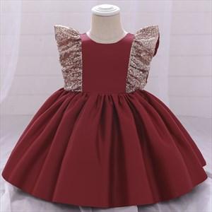 Sequin Embellished Satin Toddler Girl Birthday Princess Dress