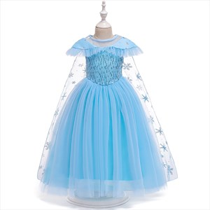 Girls Blue Sequin Tulle Holiday Princess Dress With Snowflake