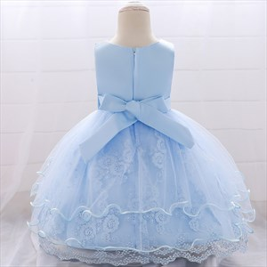 Lace Embellished Toddler Girl Birthday Dress With Bowknot