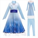 Girls Blue Embellished Princess Dress With Long Sleeves
