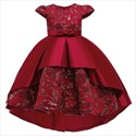 Girls Lace Embellished Princess Party Dress With Cap Sleeves