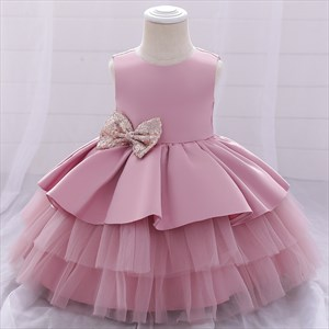 Toddler Girl Birthday Princess Dress With Sequined Bows