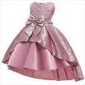 Girls Pearl Embroidery Satin Princess Party Dress With Bowknot