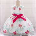 Girls Floral Embellished Birthday Princess Dress With Bow