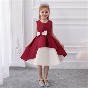 Girls Pleated Satin Princess Party Dress With Bowknot