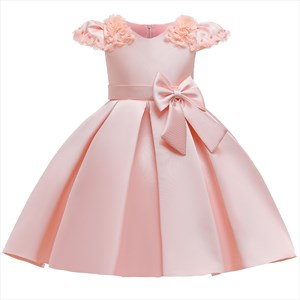 Girls Satin Flower Cap Sleeves Princess Party Dress With Bows