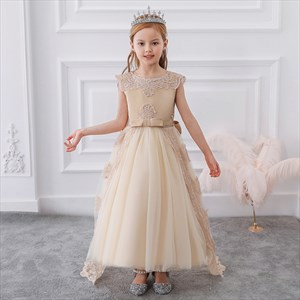 Girls Lace Applique Tulle Princess Party Dress With Bowknot