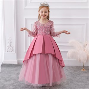 Girls Beaded Lace Bodice Tulle Birthday Princess Dress