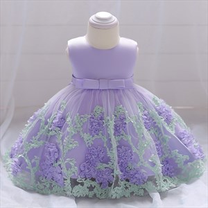 Floral Embellished Toddler Girl Birthday Dress With Bowknot