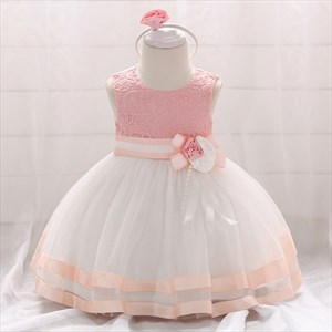 Lace Bodice Tulle Toddler Girl Birthday Dress With Flowers
