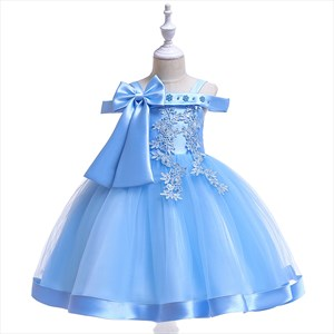 Girls Off The Shoulder Lace Applique Birthday Princess Dress