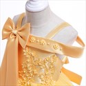 Girls Off The Shoulder Lace Applique Birthday Princess Dress