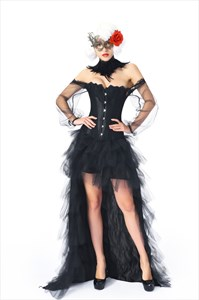 Off The Shoulder Shaper Corset With Long Sheer Sleeves